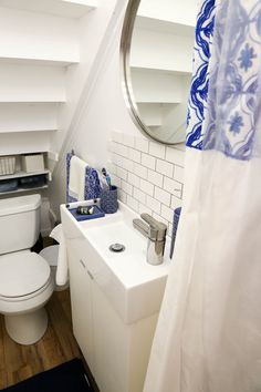 5 Bathroom Remodeling hacks to save you money Under Basement Stairs, Bathroom Under Stairs, Small Toilet, New Toilet, Tiny Bathrooms, Small Bathroom, Basement Remodeling, Bathroom Renovations, Shower Seat