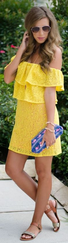 Pearl Southern Couture Yellow Lace Ruffle Top Off The Shoulder Little Dress