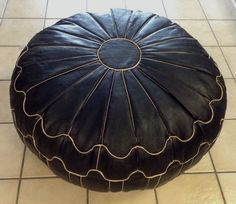 Moroccan Leather Hassack Round Ottoman Pouf Seat in Black & Ivory Large Poof  #Moroccan