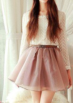 Subtle creamy colors, cute outfit