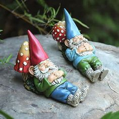 Contented Garden Gnomes - Set of 2
