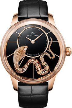 Jaquet Droz Petite Heure Minute Snake J005023273.18-carat red gold dial with inlaid black onyx . 18-carat red gold snake applique set with 3 diamonds (0.05 carats), engraved, enameled, patinated and painted by hand. 18-carat red gold. Jaquet Droz 2653, self-winding mechanical movement. Power reserve 68 hours. Diameter 41 mm.