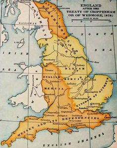 England in - Jórvík, Danelaw & East Anglia are shown in yellow. Viking - Danes - Norwegians - Deira- Guthrum - East Anglia - Treaty of Chippenham - Wedmore History Of England, Uk History, European History, British History, Ancient History, Family History, Ancient Vikings, Norse Vikings, Map Of Britain