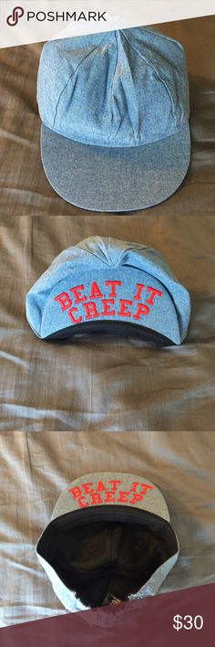 """Beat It Creep"" messenger cap Brand new, never worn, Valfe messenger cap. Denim blue colored cap with 'beat it creep' embroidery in red on the bill of cap. Valfre Other"