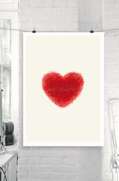 Printable Art Red Love Heart Polygons Color Valentine Art Wall Decor