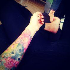 Deer tattoo with orchyds#wristtattoo#armtattoo#deertattoo#orchyd#watercolor#ink#tattoo