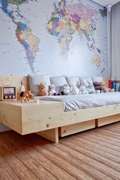 World Map Wallpaper Walls - World map boys room