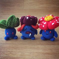 Following my Oddish pattern, then my Gloom pattern, I owed to design Vileplume !Its French name is