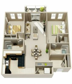 50 Two  2  Bedroom Apartment House Plans   Aerial view 3D Space 3D     Apartamento de 2 quartos