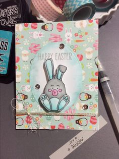 One more Easter card using the SSS March kit. It's a homemade Wobbler card. I used jewelry wire for the wobbler. Other ingredients used: Water color with distress inks, Nuvo mousse around the oval, Delicata silver ink for sentiment, silver thread, wink of Stella and glossy accents.