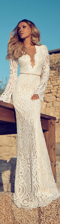 Julie Vino LBV - Long sleeve guipuure lace gown with deep V-neckline and a row of buttons at the back
