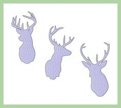 machine Embroidery Design - 3 Deer Silhouettes Several Sizes Each 4 x 4, 5 x 7, 8 x 10 all popular formats jef,dst,hus,vip,xxx,pes  You MUST have an embroidery machine and the software needed to transfer it from your computer to the machine to use this file. To combine the individual letters into words/names you also need editing software of some type. This listing is for the machine file only - not a finished item.  The following formats are included in the file you will receive: PES, E...