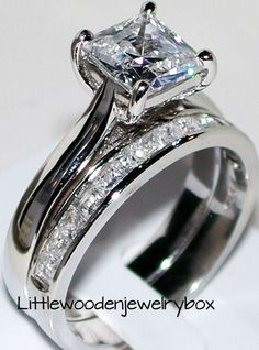 925 Sterling Silver AAA Princess cut Engagement Ring Wedding Set Women's sz 5-9  | Jewelry & Watches, Engagement & Wedding, Engagement/Wedding Ring Sets | eBay!