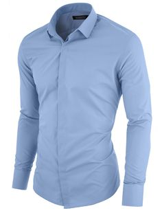 MODERNO Slim Fit Mens Dress Shirt with Hidden Closer Sky.  FREE shipping worldwide! 30 days return policy