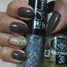 Unha decorada filha unica esmalte com glitter, decorated nail