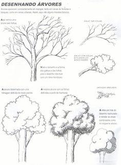 Desenhos, desenhos meus: tutorial: árvores e arbustos