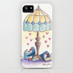 penguins read together under a retro lamp iPhone & iPod Case by MaryAnn Loo - $35.00