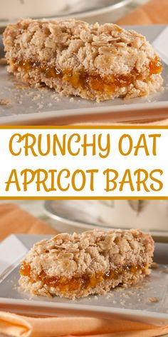 Crunchy Oat Apricot Bars make the perfect on-the-go breakfast or snack. Our apricot bars have just the right amount of satisfying crunch to go along with that sweet apricot taste. Diabetic Snacks, Healthy Snacks For Diabetics, Diabetic Recipes, Snack Recipes, Dessert Recipes, Desserts, Healthy Foods, Healthy Carbs, Bar Recipes