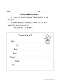 English worksheet invitation cards making invitations pinterest writing an invitation card stopboris Images