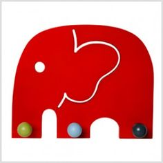 Red Elephant Coat Rack by Franck & Fischer - Buy Franck Fischer, Kids Playroom Furniture, Happy Elephant, Jungle Room, Owl, Kids Wood, Room Themes, Kids Decor, Decoration