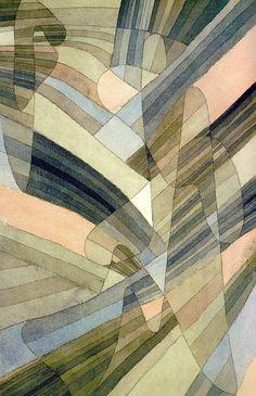 Paul Klee, Courants polyphoniques, 1929. Aquarelle et plume sur carton, 43,8 x 28,9 cm. Kunstsammlung Nordrhein-Westfalen, Düsseldorf. Cette œuvre a été reproduite p. 95 de l'édition Paul Klee, Parkstone international,