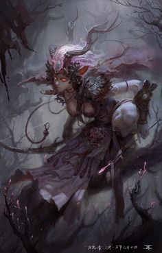 ~horned dark fairy illustration by Li Xiaofeng (7GAME)