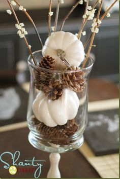 pine cones and white pumpkins. I love white pumpkins and pine cones Thanksgiving Home Decorations, Fall Home Decor, Seasonal Decor, Fall Decorations, September Decorations, Thanksgiving Tree, Thanksgiving Games, Mini Pumpkins, White Pumpkins