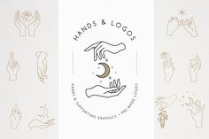 Ad: 18 Hands & Logo Templates by amber&ink on Elegant hands graphics in various poses, pre-made logo templates, and supporting graphic elements to create your own designs. A set of 18 Web Design, Design Blog, Graphic Design, Design Art, Design Ideas, Hand Logo, Hand Illustration, Creative Logo, Creative Brochure