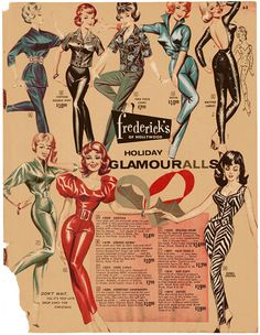 frederick's of hollywood vintage fashion style color photo print ad model magazine 60s 70s illustration catsuit jumpsuit pants pencil tight red green black floral blue