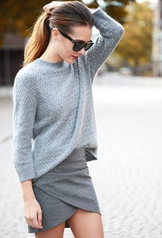 Grey. I'd go a longer skirt same style being Nana but love these soft drapes, soft greys.