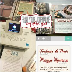 """Did you ever consider printing your journaling on 4x6"""" photos? How about PRINTING ON THE GO? Check out how our host Lori Allred used her Canon SELPHY CP900 mobile printer and the Rhonna Designs APP to create """"journaling"""" for her Italy Album while at a retreat without WIFI."""