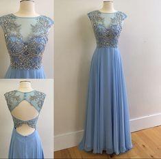 Bule Scoop Beaded Tulle Top Sleeveless Keyhole Back Low Back Chiffon Long Prom Dress