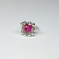 DWJ Natural Faceted Pink Agate Silver Wire Wrapped Ring SZ 6-10