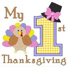 1st Thanksgiving Girly Applique - 4x4 | Thanksgiving | Machine Embroidery Designs | SWAKembroidery.com Stitch-Ville