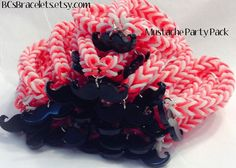 Rainbow Loom Bracelet . Valentines Day . Party Favor Pack . Mustache charm Bracelets . Birthday Party Favor . Class Party Favors
