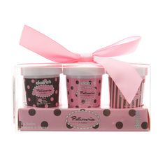<P>Yum, yum! This set of lip balms will make lips nice and soft while tasting nice and sweet. Packaged in little sorbet cups for extra fun, they make a great gift. Includes 1 of each: peach, raspberry and watermelon.</P><P><STRONG>Lip balms</STRONG> by <STRONG>Claire's Patisserie</STRONG></P><UL><LI>Set of 3</LI><LI>Flavored lip balm</LI></UL>