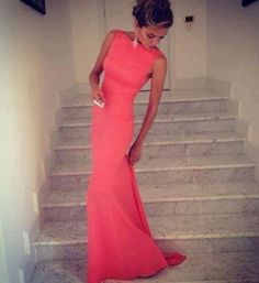 Get this dress on @Emilio Foster or see more #dress #coral #classy #neckline