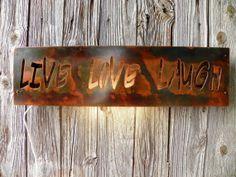 Plasma Cut Metal Art Live Love Laugh lighted sign by hippiehog, $84.00