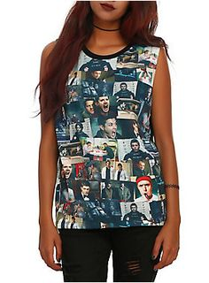 "<ul> 	<li><span id=""webDesc"">Sleeveless top from <i>Supernatural</i> with series inspired collage sublimation print design on front.</span></li> 	<li><span id=""bullet0"">100% polyester</span></li> 	<li><span id=""bullet1"">Wash cold; dry low</span></li> 	<li><span id=""bullet2"">Imported </span></li> 	<li><span id=""bullet3"">Listed in junior sizes</span></li> </ul>"