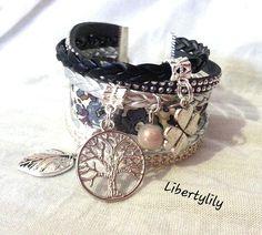 Bracelet manchette très large véritable Liberty fleuri et tresse simili cuir thème porte bonheur : Bracelet par libertylily