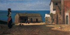 VINCENZO CABIANCA, Paesaggio con figure, 1870 circa, olio su tavola, cm 30x60, Collezione privata