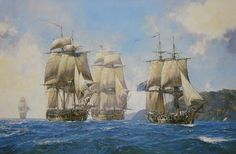 """'Captain Aubrey's Commands'    Captain Jack Aubrey commanded many ships during his career as described in Patrick O'Brian's series of novels. Gathered together in this picture are some of the most famous; from left to right we see """"Leopard"""", """"Surprise"""", """"Bellona"""" and """"Sophie""""."""