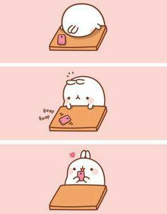 A text can make you happy :) Molang. #kawaii #cute #funny