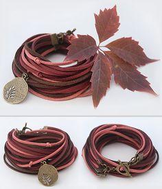 Autumn Colors Bracelet // Fall Leaf // Suede bracelet // Marsala coral brown / Double Wrap / Boho Chic / Handmade Jewelry // Dark bracelet by TheSeaLovers 19.00 USD http://ift.tt/1QcBCnp