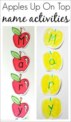 Name activities to correspond to the book 10 Apples Up on Top - art and literacy, along with free printable apple letters Preschool Apple Theme, Preschool Names, Name Activities, Fall Preschool, Preschool Lessons, Alphabet Activities, Preschool Alphabet, Alphabet Crafts, Alphabet Letters