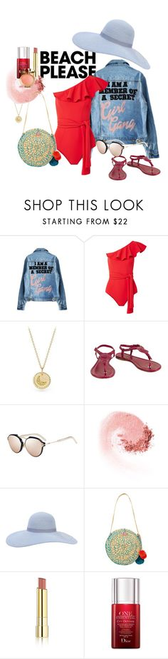 """Beach Please!"" by bellamal ❤ liked on Polyvore featuring Lisa Marie Fernandez, David Yurman, Moncler, Christian Dior, Eugenia Kim, Sophie Anderson, Stila, polyvorecontest, polyvoreset and BeachPlease"
