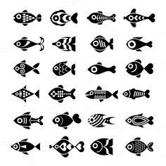 Fish icon set by dan on @creativemarket