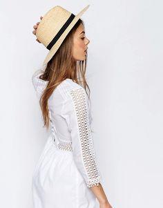 Bild 1 von ASOS – Fedora-Hut aus Naturstroh mit Schleifenverzierung