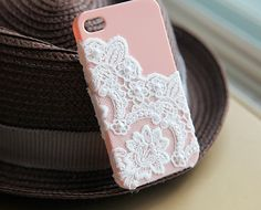 Light Pink lace and pearl iphone case by CeciliaJewelry on Etsy, $20.99