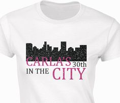 Customized birthday party sex and the city t-shirt with glitter text. Amazing!    T-Shirt information    185 g/m2 (180 g/m2 in White)  100% ring spun cotton preshrunk jersey knit (see colours for exceptions)  Semi-fitted contoured silhouette with side seam  1,2 cm collar  Taped neck and shoulders  Satin label  Twin needle sleeve and bottom hems    Sizing:  Extra Small=6  Small = 8  Medium = 10  Large = 12  XL = 14  2XL = 16      Extra Small=Chest 15inches/38 cm, Length 24.50 inches/63 cm…